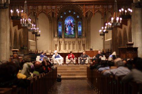 from left: Edina Lekovic, Moderater, Narinjan Singh Khalsa, Rabbi Bassin, Maher Hathout, MPAC Founder, and Reverend Bacon